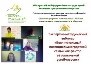 Экспертно-методический вебинар «Воспитательный потенциал многодетной семьи как фактор её социальной устойчивости»